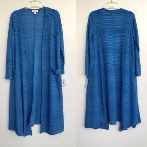 NWT Lularoe Sarah Ruffled Kimono Duster Blue Small